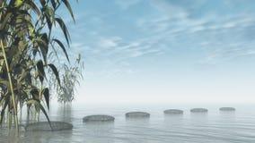 Зеленые камешки природы - 3D представляют Стоковое Изображение
