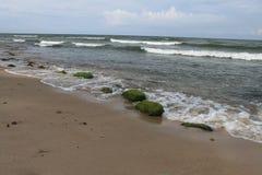 Зеленые камни на пляже, Балтийском море, Hel, Польше стоковое фото