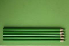 зеленые карандаши Стоковая Фотография