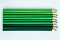 зеленые карандаши Стоковое Изображение RF