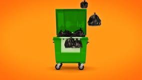 Зеленые контейнеры отброса акции видеоматериалы