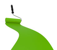 Зеленые краска и ролик Стоковые Изображения RF