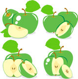 Зеленые куски яблока, собрание иллюстрации Стоковые Изображения RF