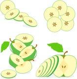Зеленые куски яблока, собрание иллюстрации Стоковые Фото