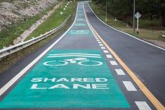 Зеленые майны велосипеда на дороге асфальта Стоковая Фотография