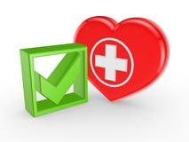 Зеленые метка тикания и символ медицины. иллюстрация штока