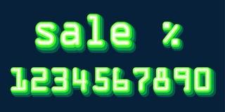 Зеленые неоновые номера Hologram установили шрифт Вектор выбора процентов скидки продажи Стоковые Фото