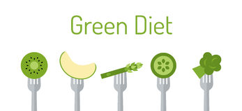 Зеленые овощи и плодоовощ на вилках Стоковая Фотография RF