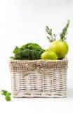 зеленые овощи на белой предпосылке Стоковая Фотография RF