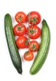 Зеленые огурец и томаты Стоковое Изображение