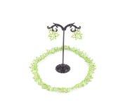 Зеленые ожерелье и серьги Стоковая Фотография RF
