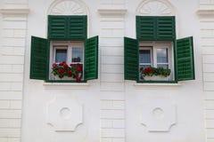 Зеленые окна Transylvanian, в деревне Rimetea, Румыния стоковые изображения rf