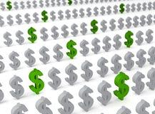 Зеленые доллары в экономике Стоковая Фотография