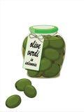 зеленые оливки опарника Стоковая Фотография RF