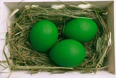Зеленые пасхальные яйца в белой корзине Стоковое Изображение RF