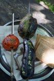 Зеленые перцы, красные томаты и баклажан Стоковое Изображение