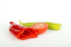 зеленые перцы красные Стоковая Фотография RF