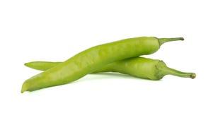 Зеленые перцы chili изолированные на белой предпосылке Стоковые Изображения