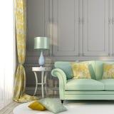 Зеленые подушки желтого цвета софы