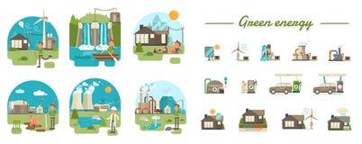 Зеленые принципиальные схемы энергии Бесплатная Иллюстрация