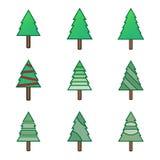 Зеленые плоские установленные значки символа рождественской елки Стоковое фото RF