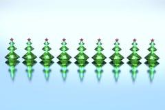 Зеленые рождественские елки диамантов с красные звезды Стоковое Изображение RF
