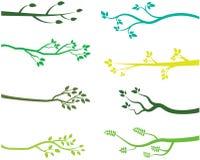Зеленые силуэты ветви дерева Бесплатная Иллюстрация