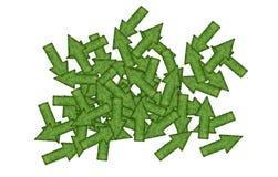 Зеленые стрелки на белизне Стоковое фото RF