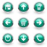 Зеленые установленные значки сети Стоковое Изображение RF