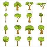 Зеленые установленные значки, стиль деревьев шаржа Стоковые Фотографии RF