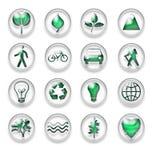 Зеленые установленные кнопки значков сети Eco бесплатная иллюстрация