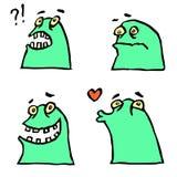Зеленые установленные смайлики изверга Характер смешного шаржа холодный также вектор иллюстрации притяжки corel Стоковые Фото