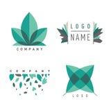 Зеленые установленные logotipes лист Стоковые Фото