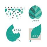 Зеленые установленные logotipes лист Стоковое Изображение