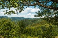 Зеленые холмы во время солнечного дня с голубым небом и белыми облаками Стоковое Изображение RF