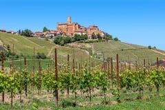 Зеленые холмы и маленький город в Италии Стоковые Фотографии RF