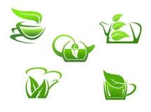 Зеленые чашки травяного чая бесплатная иллюстрация