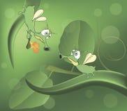 Зеленые glowworms и шарж влюбленности Стоковое фото RF