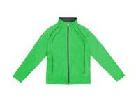 Зеленые women's тренируя куртку спорт; изолированный на белом backgr Стоковая Фотография RF