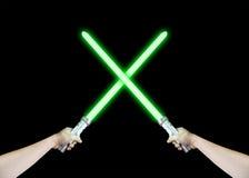 Зеленый лазер Lightsaber Стоковая Фотография