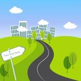 Зеленый ландшафт города с дорогой Стоковые Изображения