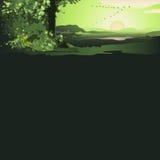 Зеленый ландшафт с восходящим солнцем Стоковая Фотография RF