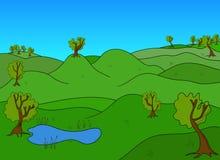 Зеленый ландшафт с деревьями и зеленый вектор полей иллюстрация вектора