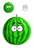Зеленый арбуз шаржа Стоковые Изображения