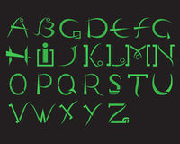 Зеленый алфавит на черной предпосылке в современных стилях Стоковое Фото