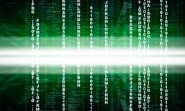 Зеленый бинарный код на черноте Стоковые Фотографии RF