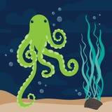 Зеленый вектор морского пехотинца осьминога иллюстрация штока