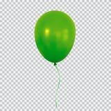 Зеленый воздушный шар гелия на прозрачной предпосылке иллюстрация штока