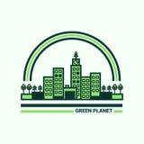 Зеленый город вектор темы иллюстрации экологичности Стоковые Фото