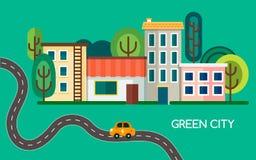 Зеленый город с много деревьями, развевая дорогой и электротранспортом Маленький город с зданиями, домами и магазином вектор Стоковое фото RF